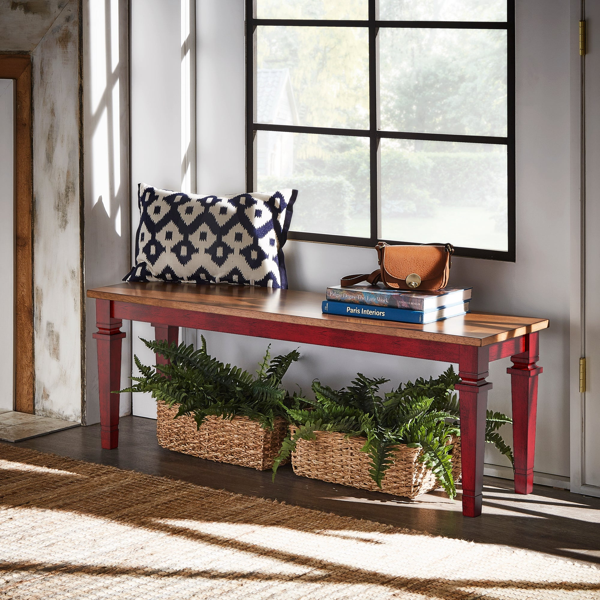 Solid Wood Dining Bench - Antique Red