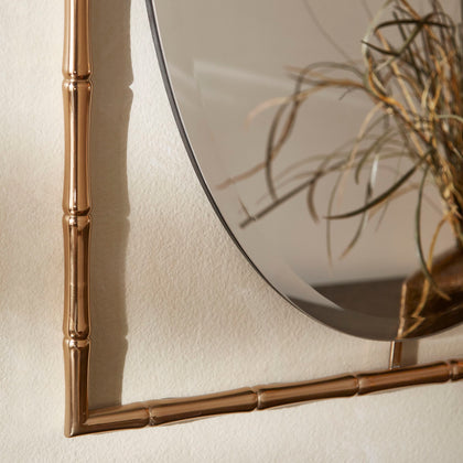 Gold Finish Bamboo Oval Wall mirror