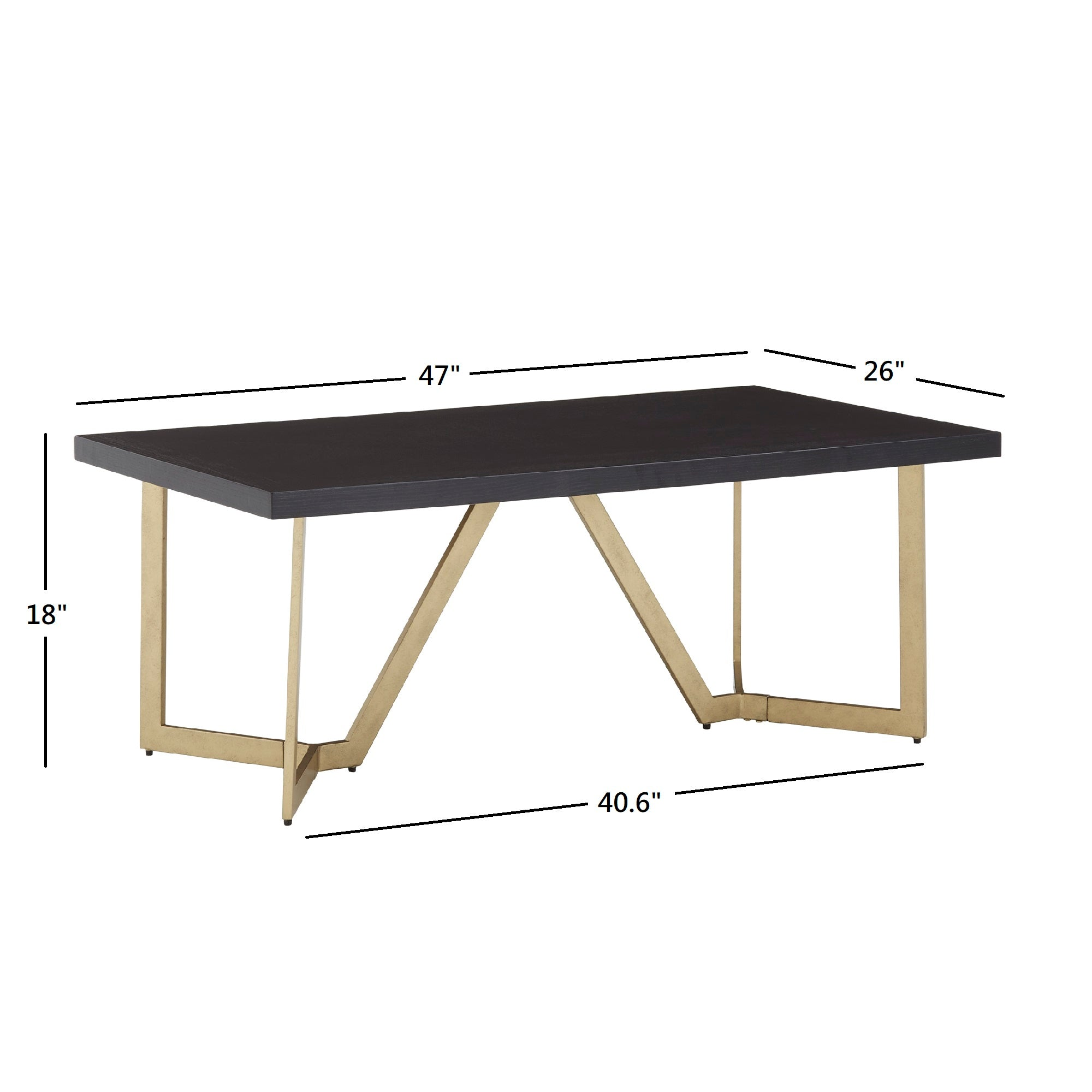 Black and Gold Metal Base Table - Coffee Table