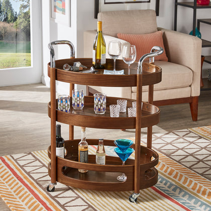 Walnut Finish Oval Bar Cart