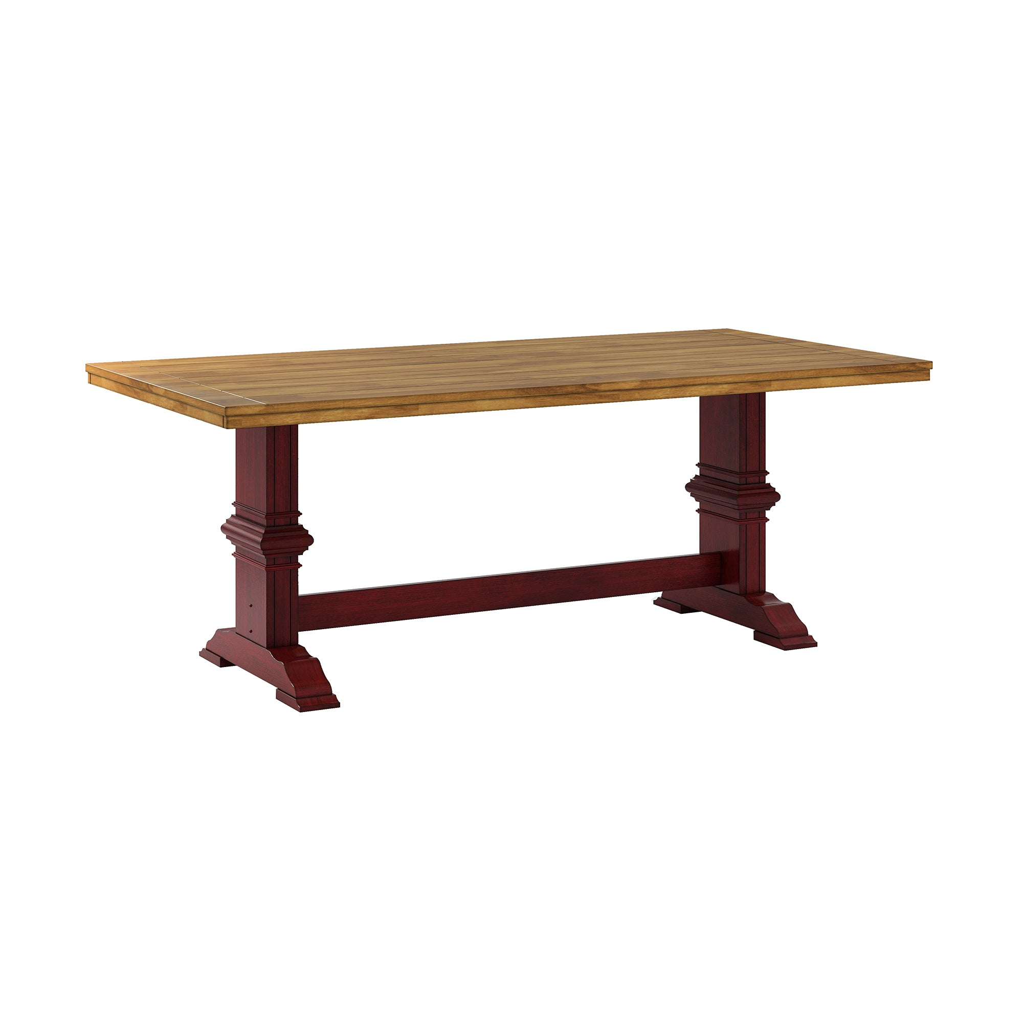 Two-Tone Rectangular Solid Wood Top Dining Table - Oak Top with Red Base