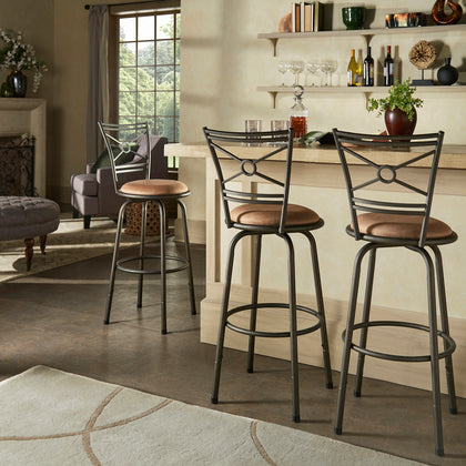 Bronze Finish Circular Center Criss Cross Back 3pc Pack Stools
