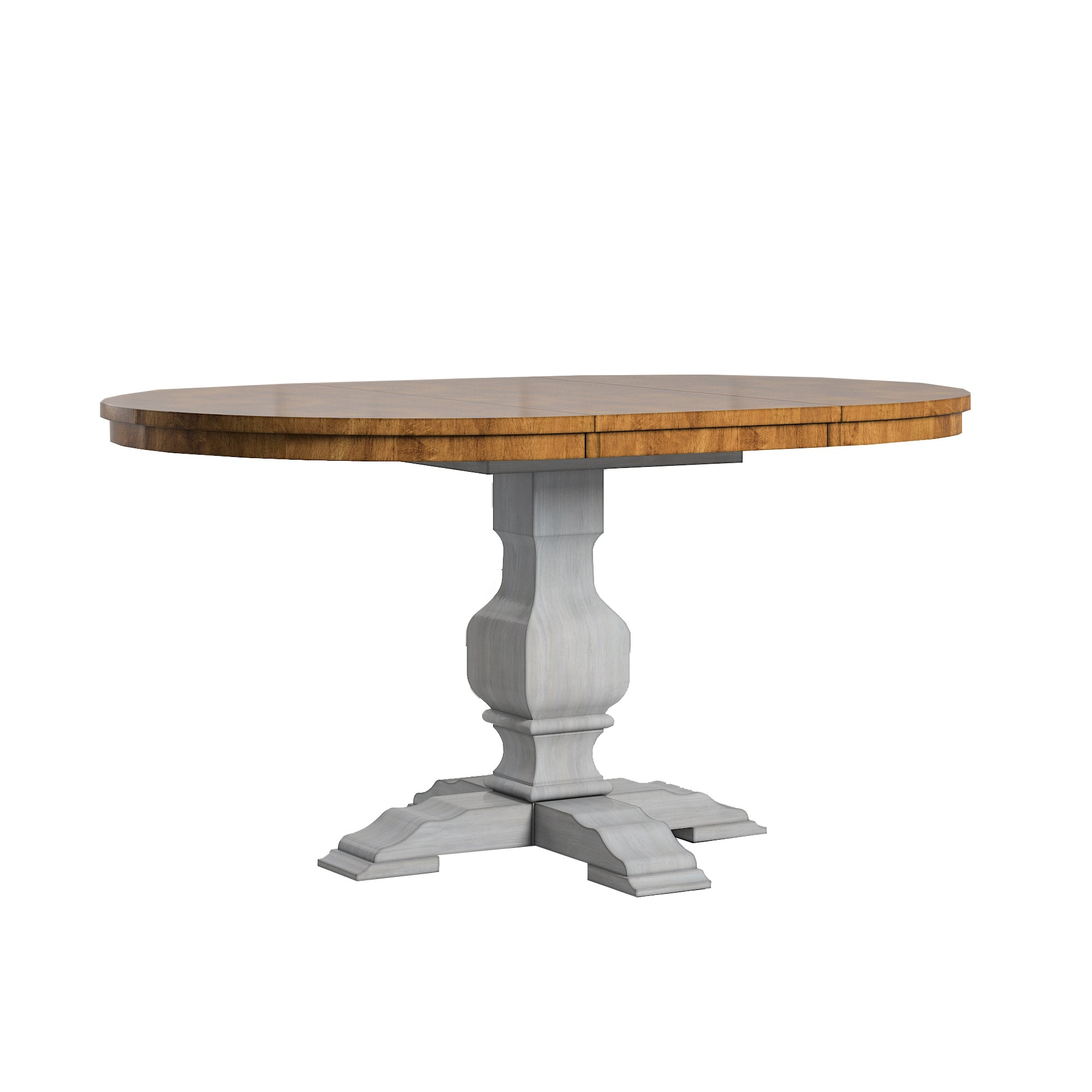Two-Tone Oval Solid Wood Top Extending Dining Table - Oak Top with Antique Grey Base