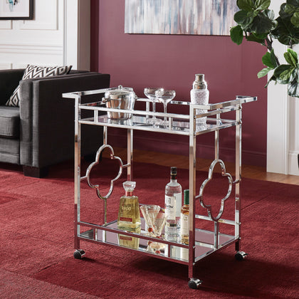 Chrome Finish Floral Bar Cart with Mirror Bottom and Glass Top