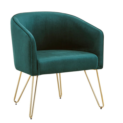Green Velvet With Gold Finish Accent Chair