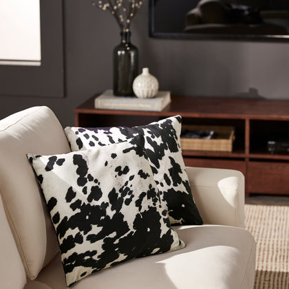 Faux Cowhide Print Accent Pillows (Set of 2) - Black Cowhide