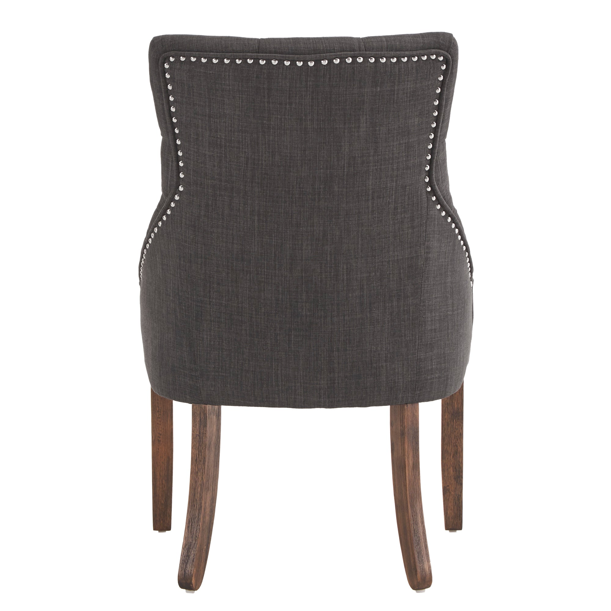 Linen Curved Back Tufted Dining Chair (Set of Two) - Dark Grey Linen