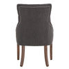 Dark Grey Linen Curved Back Tufted Dining Chair (Set of Two)