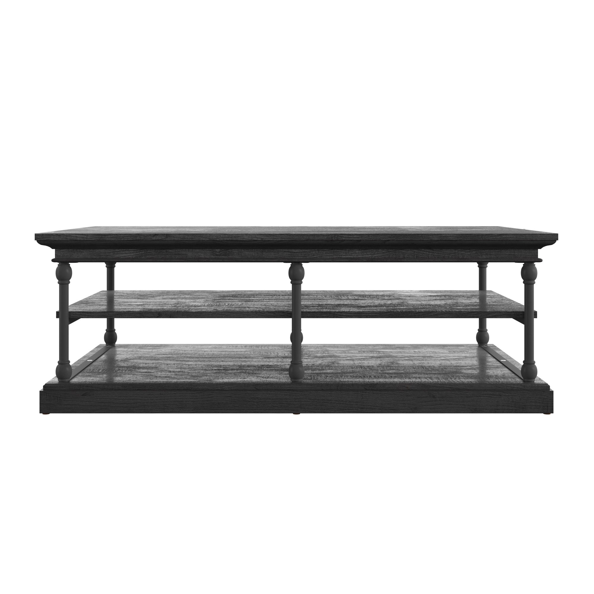 Black Rectangular Storage Shelf Coffee Table