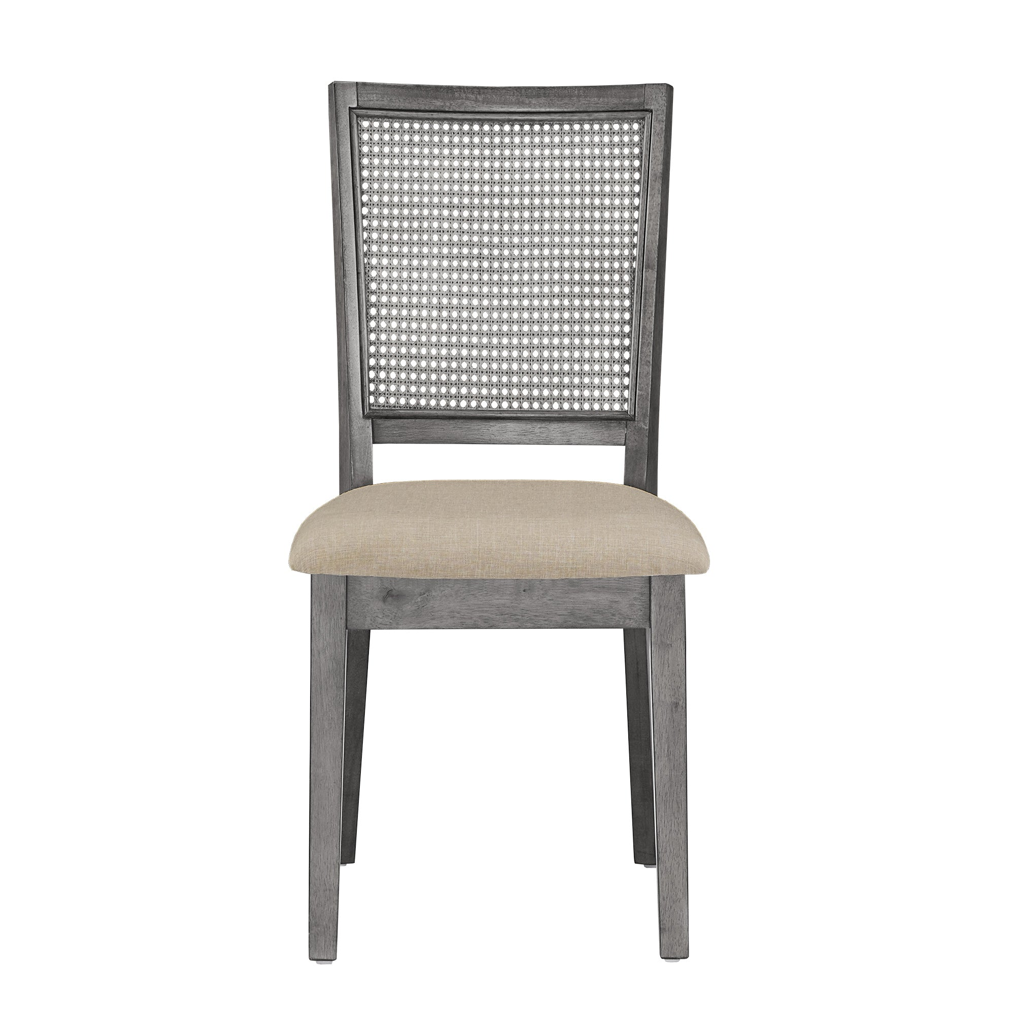 Antique Grey Beige Linen Rattan Back Dining Chairs (Set of 2)