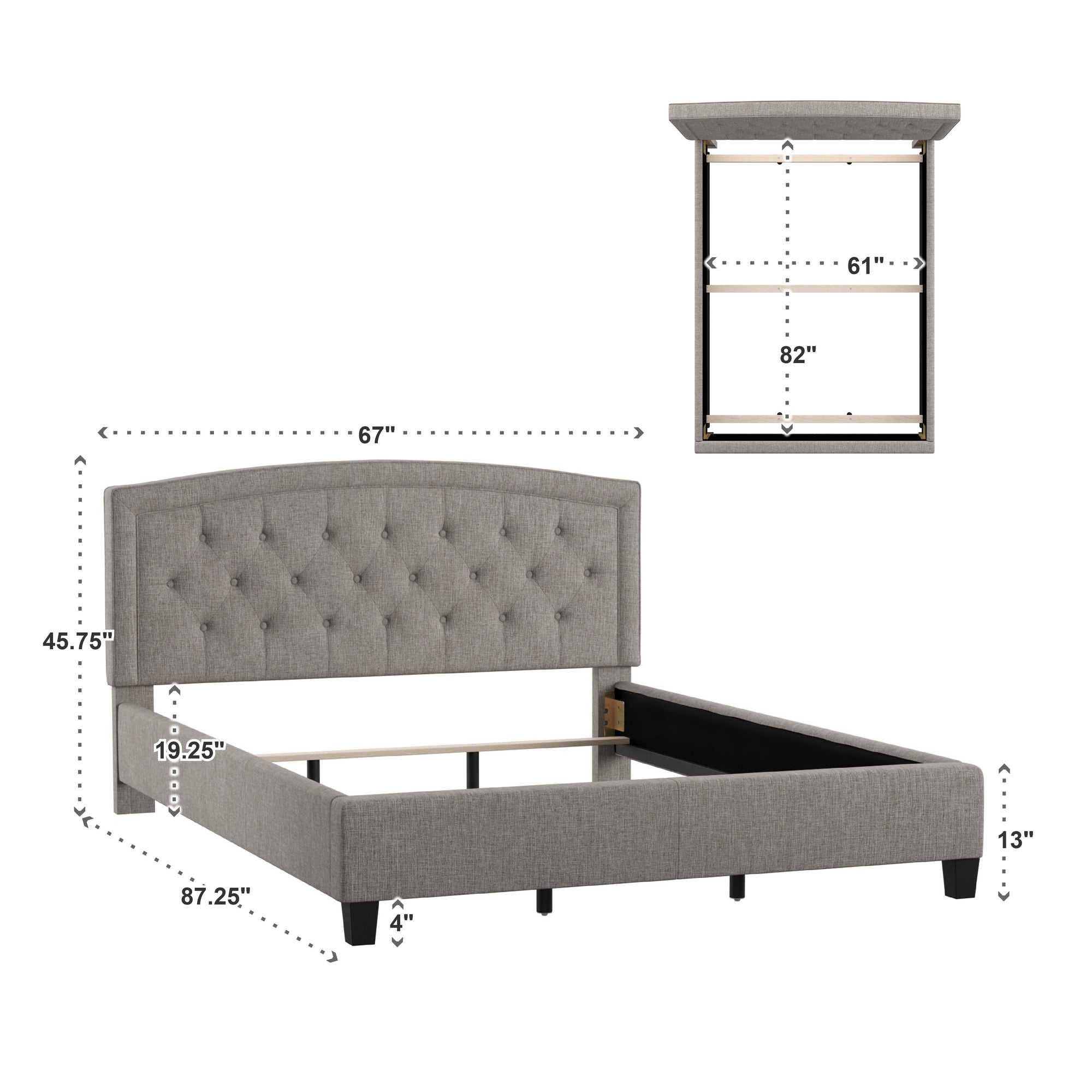 Adjustable Diamond-Tufted Arch-Back Bed - Grey, Queen