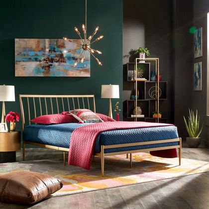 Gold Finish Metal Bed (Full Size)