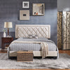 Black Finish Frame with Velvet Fabric Platform Bed - Queen Size - Cream White Velvet (Queen Size)