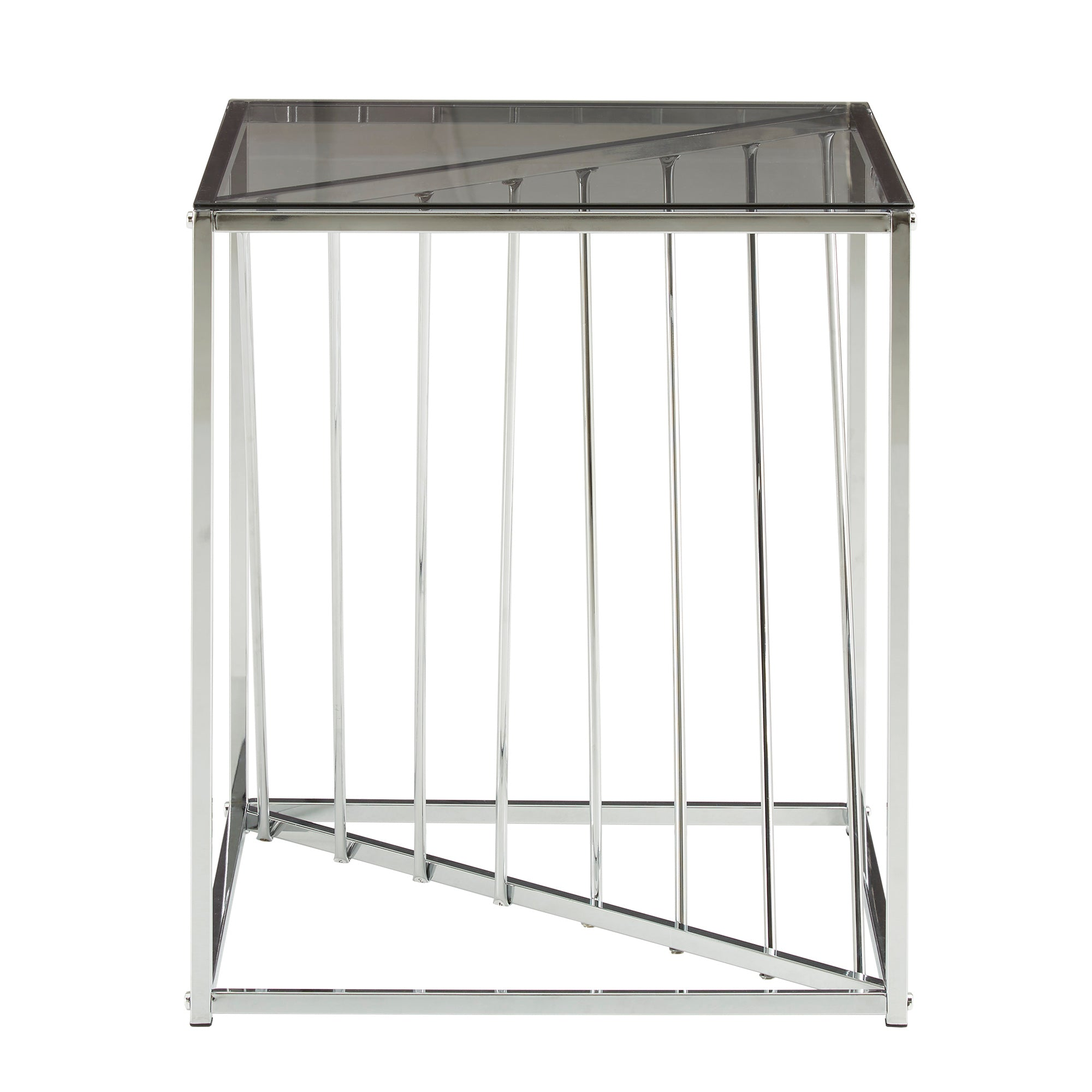 Square Metal and Glass Top End Table