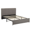 Grey Linen Upholstered Storage Platform Bed with Channel Headboard - Queen Size (Queen Size)