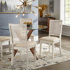 Antique White Beige Linen Rattan Back Dining Chairs (Set of 2)