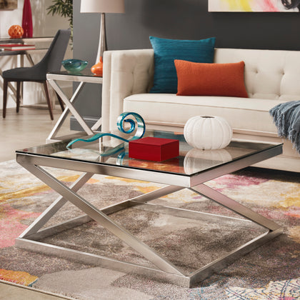 Brushed Nickel Square Coffee Table