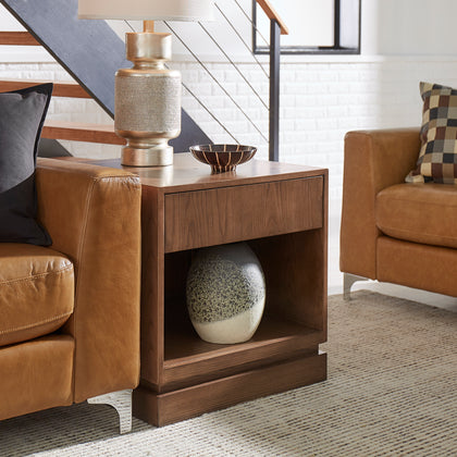 1-Drawer Wood End Table - Walnut Finish