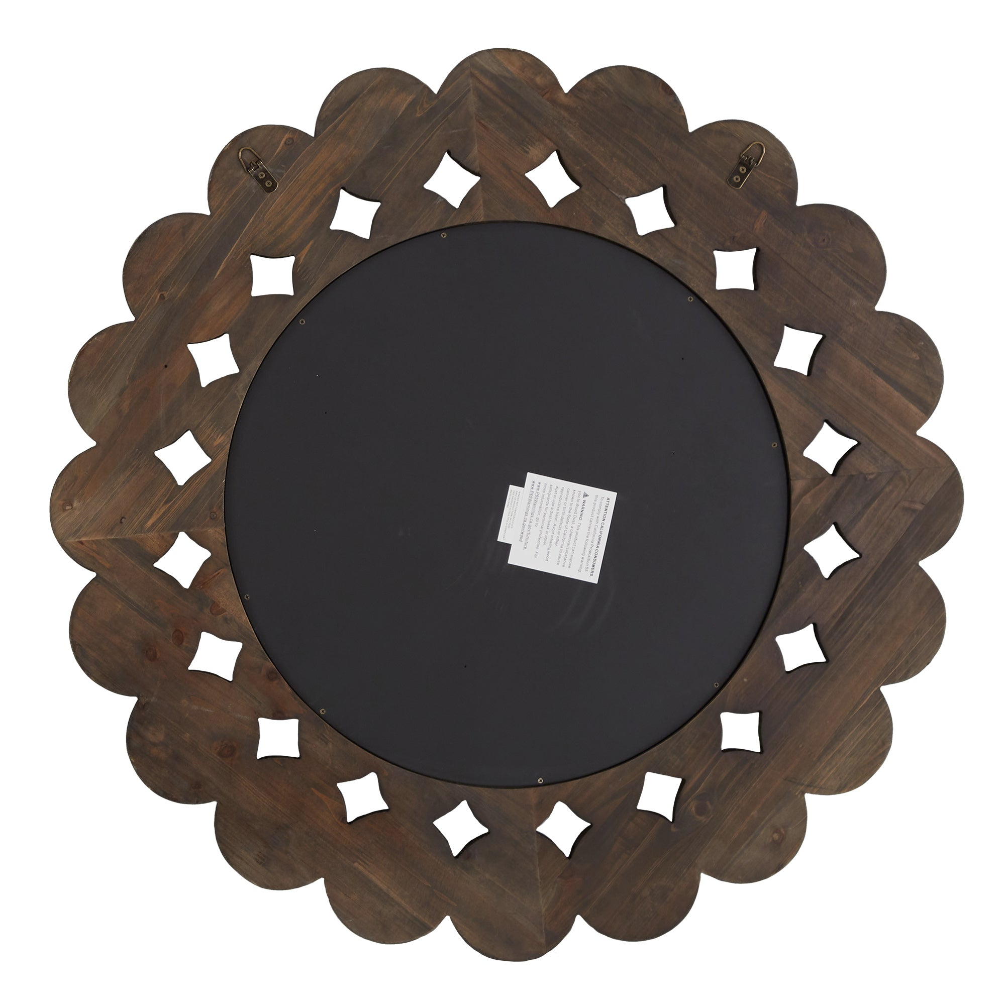 Dark Brown Reclaimed Wood Round Wall Mirror - Large