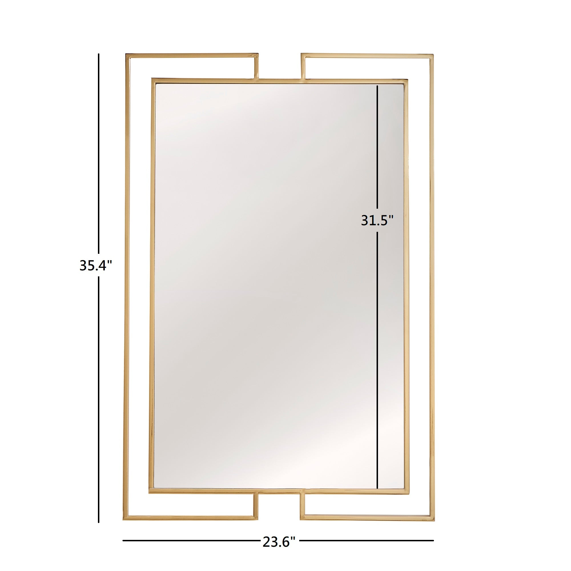Gold Finish Frame Rectangular Wall Mirror
