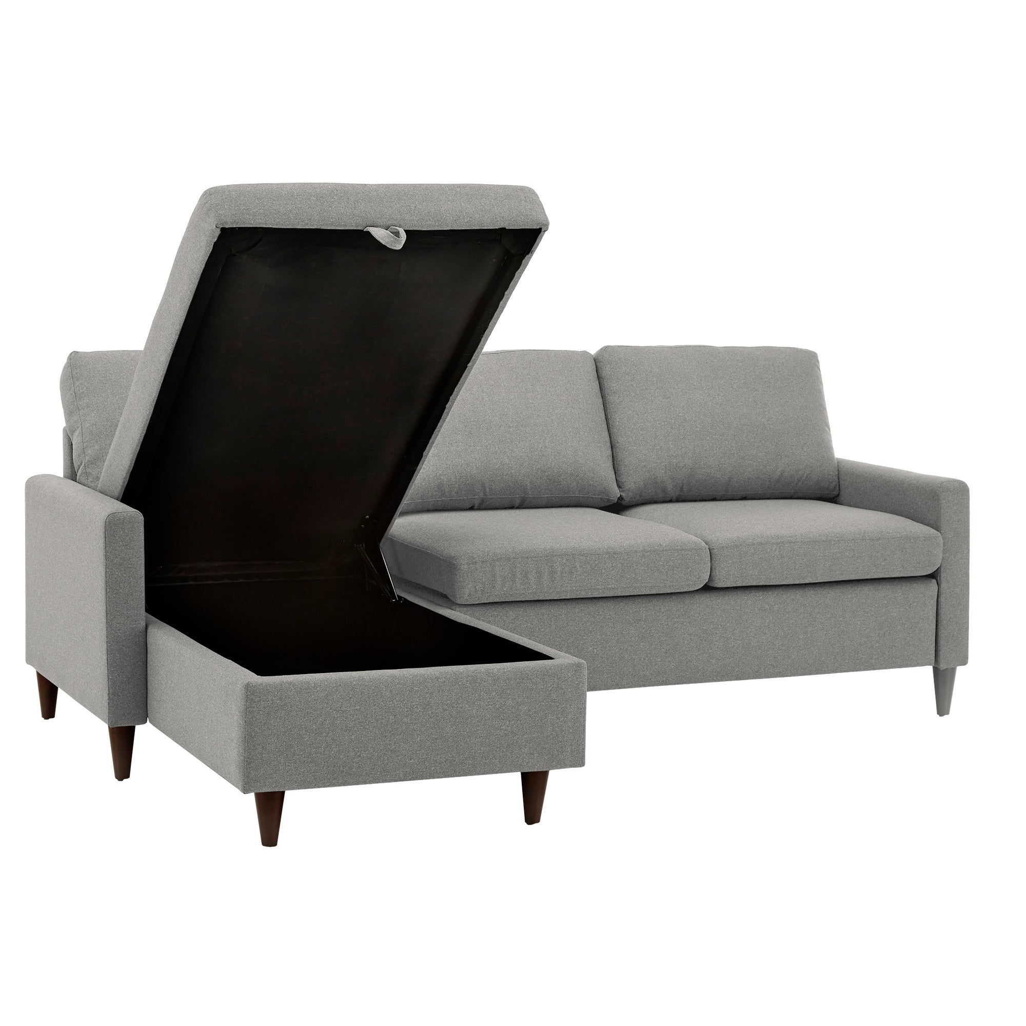 Walnut Finish Fabric Sectional Sofa with Reversible Storage Chaise - Grey