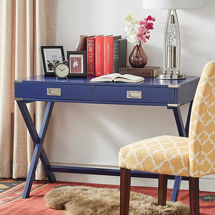 X-Base Wood Accent Campaign Writing Desk - Twilight Blue