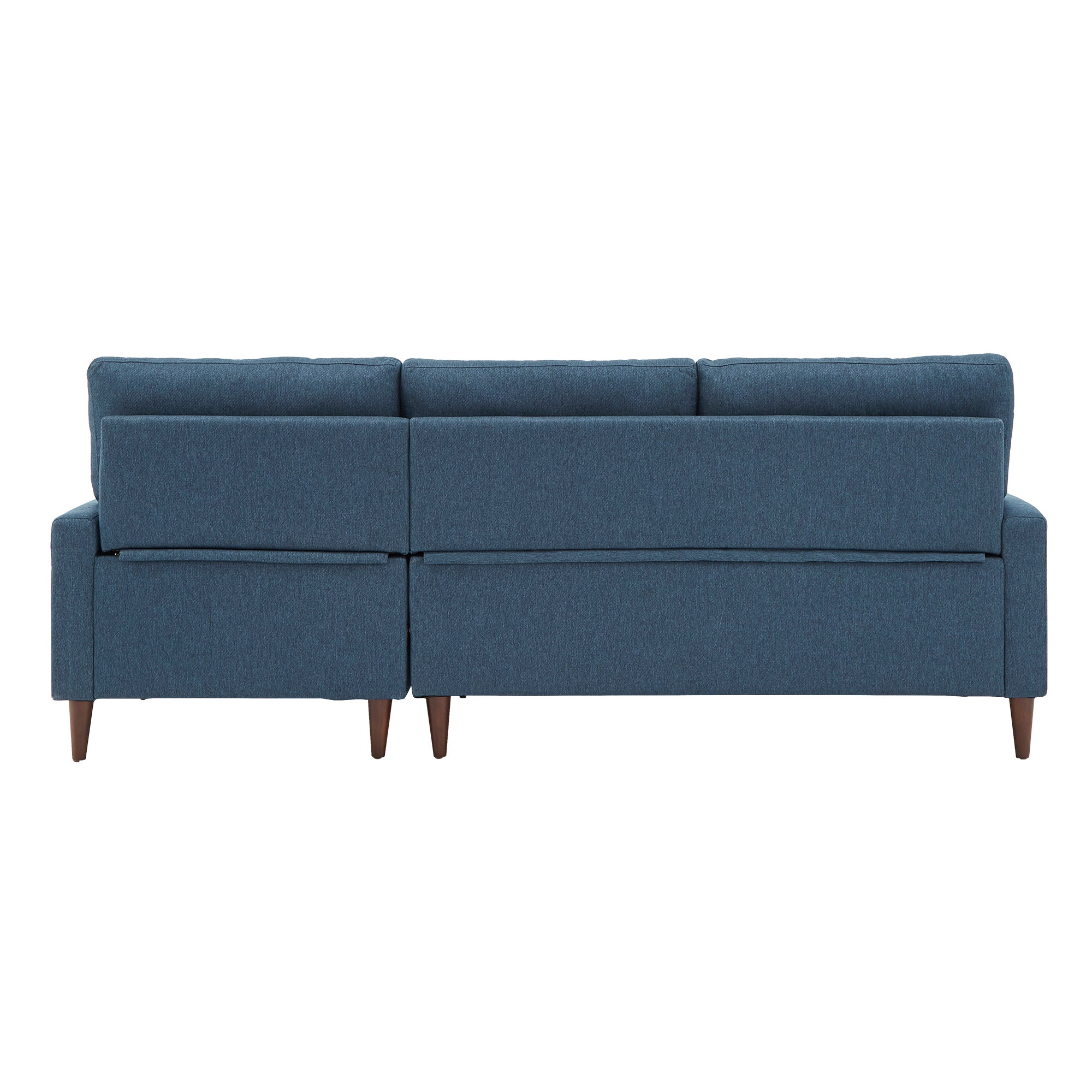 Walnut Finish Fabric Sectional Sofa with Pull-Out Bed and Storage Chaise - Blue