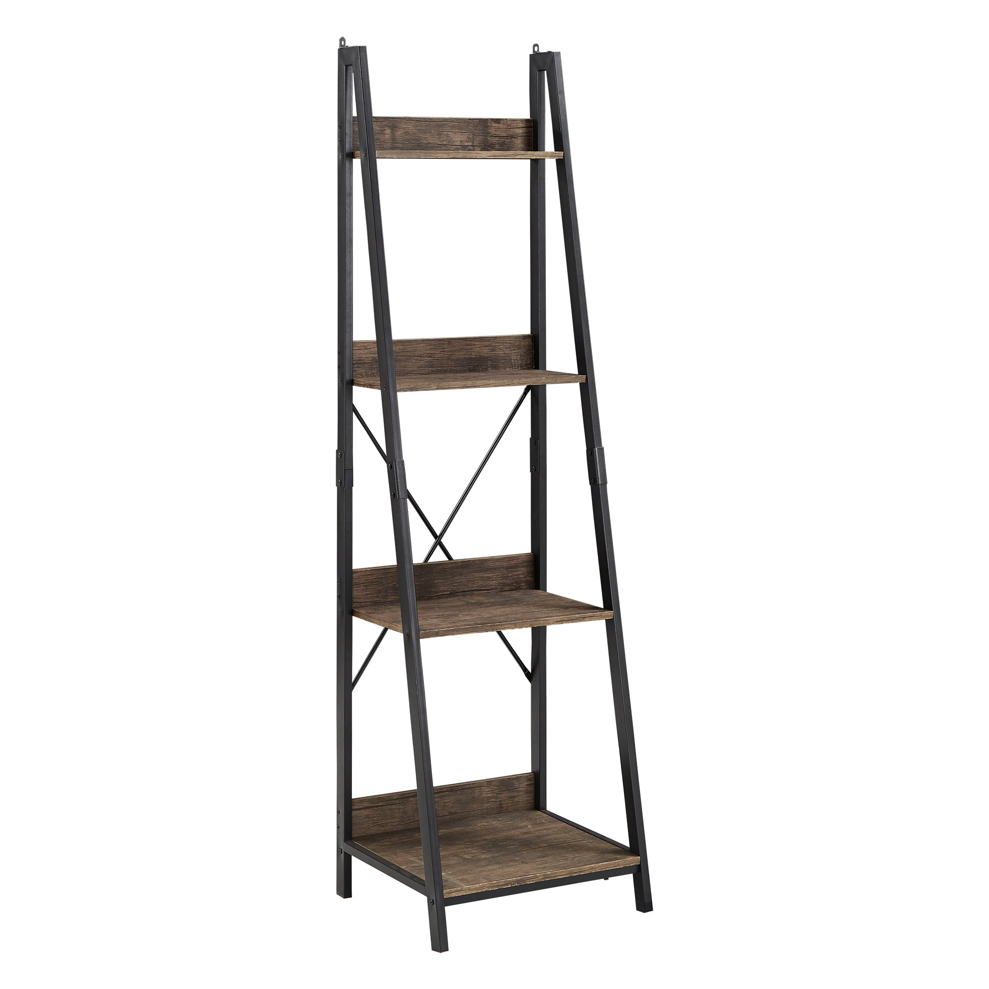 Black Metal Rustic Ladder Bookcase