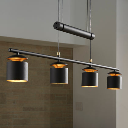 Matte Black Finish Modern Adjustable Height 4-Cylinder Pendant Light