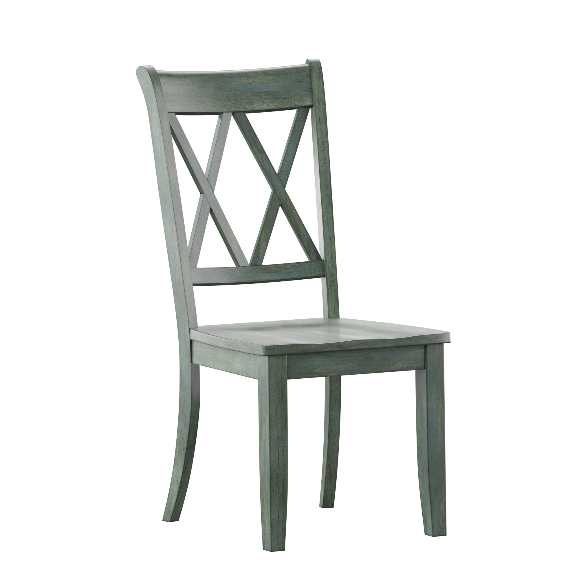 Double X Back Wood Dining Chair (Set of 2) - Antique Sage Green