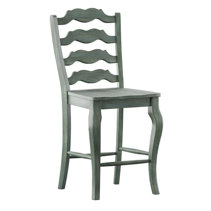 French Ladder Back Wood Counter Height Chair (Set of 2) - Antique Sage