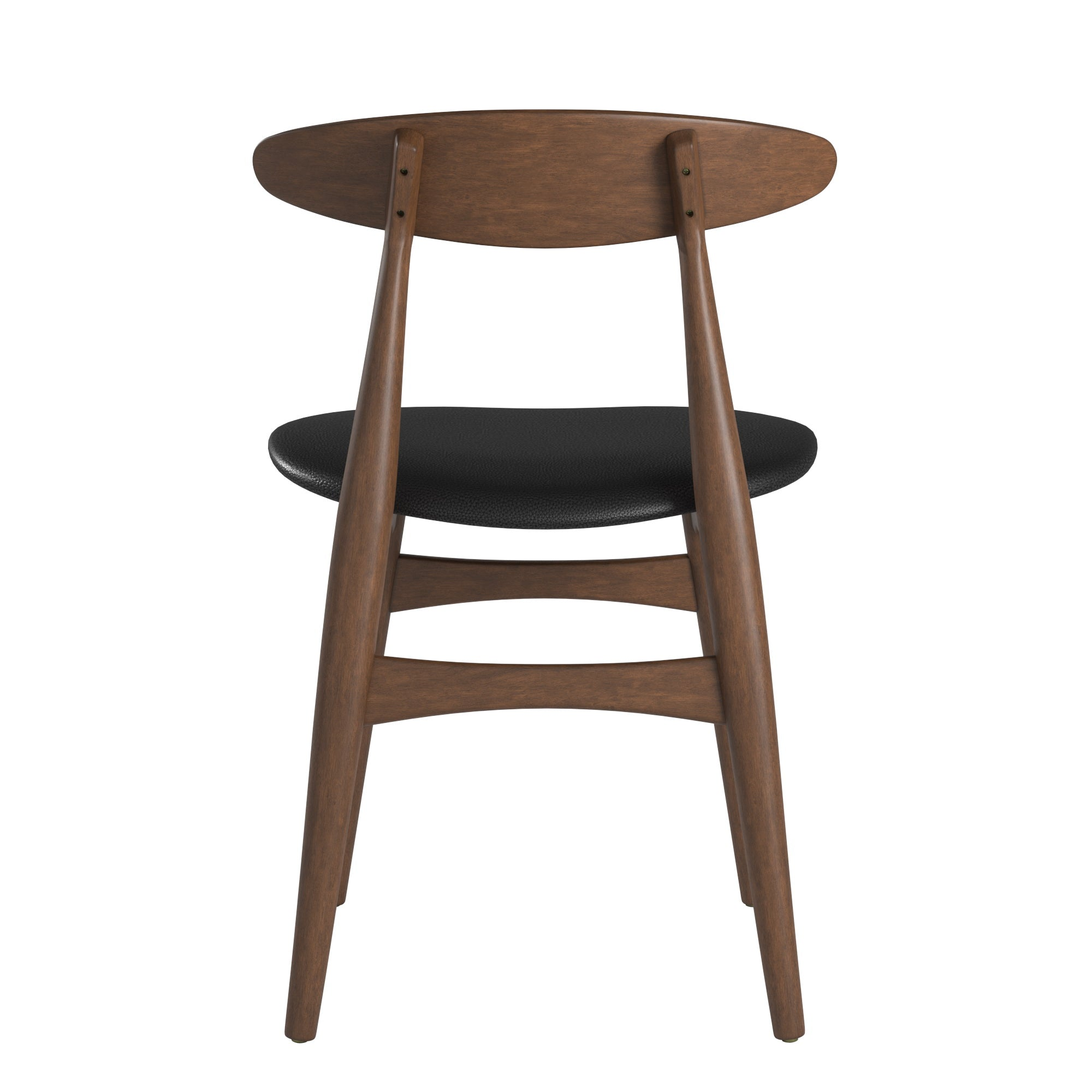 Mid-Century Tapered Dining Chairs (Set of 2) - Black Faux Leather, Dark Walnut Finish