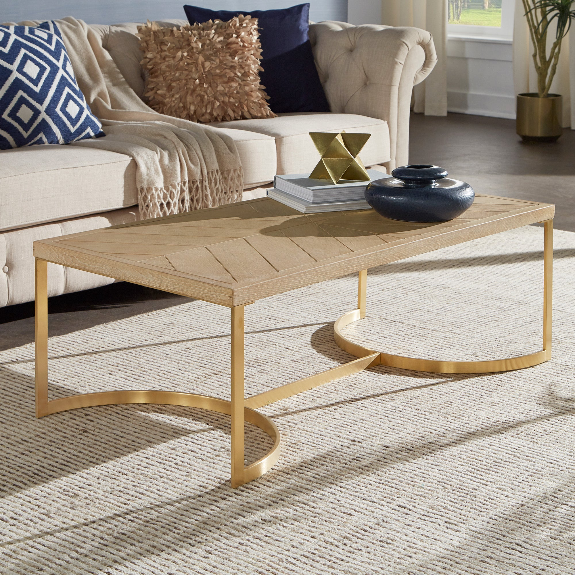 Natural Finish and Gold Table - Coffee Table