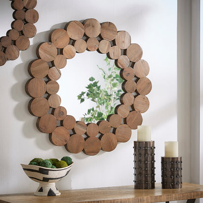 Natural Finish Reclaimed Wood Round Wall Mirror - Medium