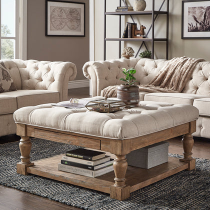 Baluster Pine Storage Tufted Cocktail Ottoman - Beige Linen - Button Tufts