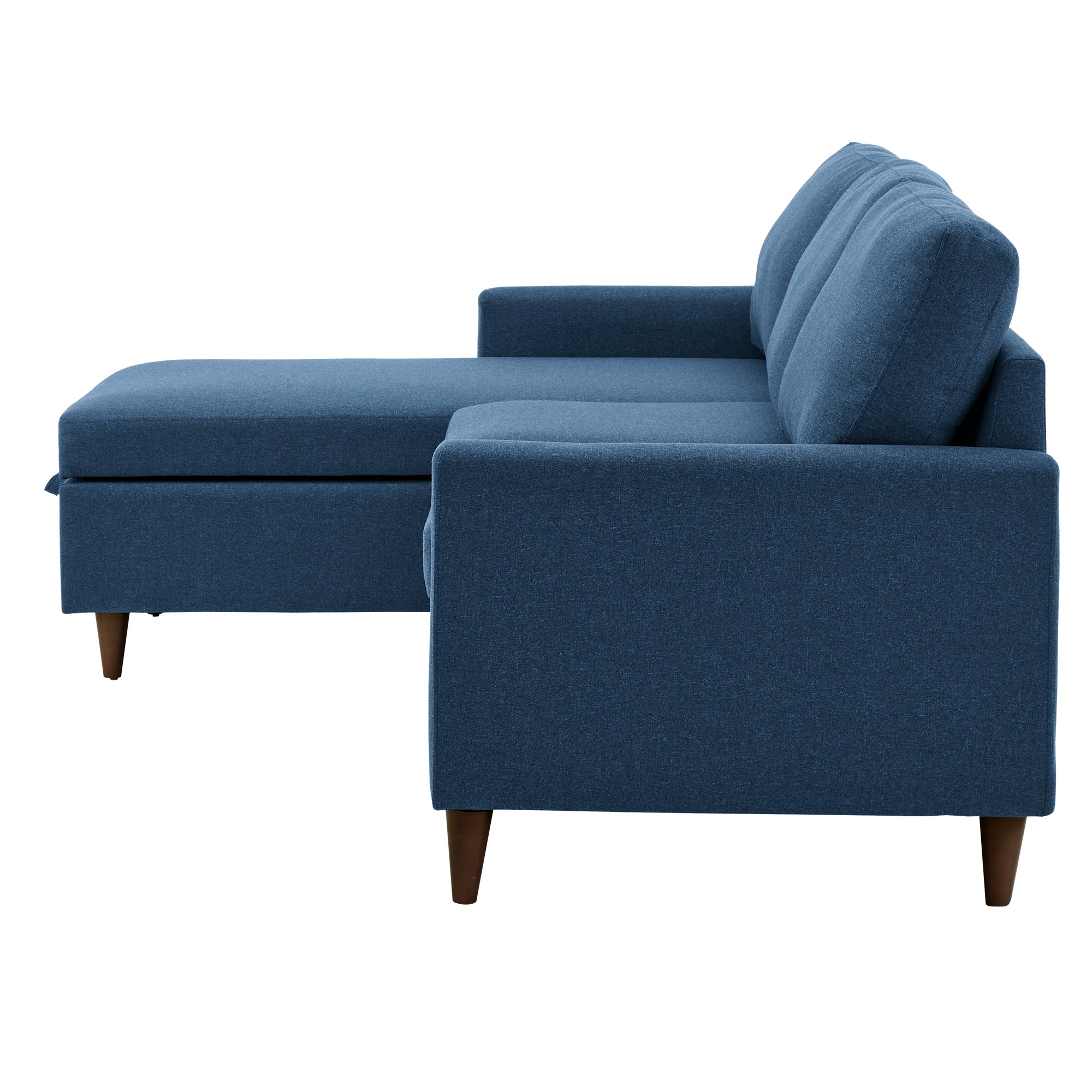 Walnut Finish Fabric Sectional Sofa with Reversible Storage Chaise - Blue