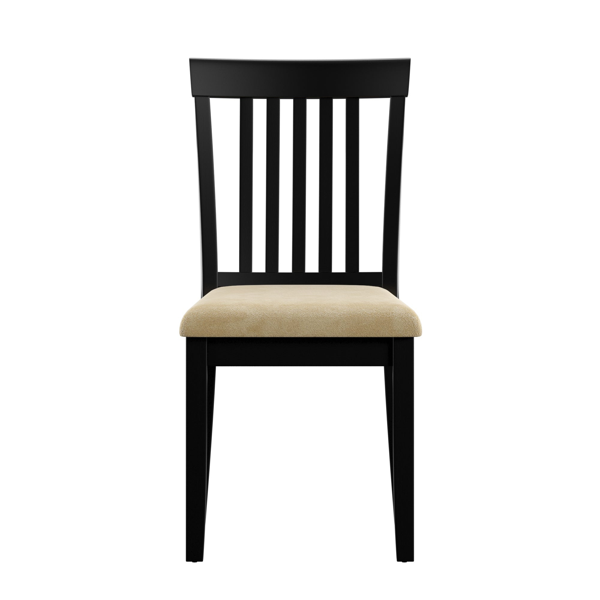 Black Wood Beige Microfiber Dining Chairs (Set of 2) - Mission Back