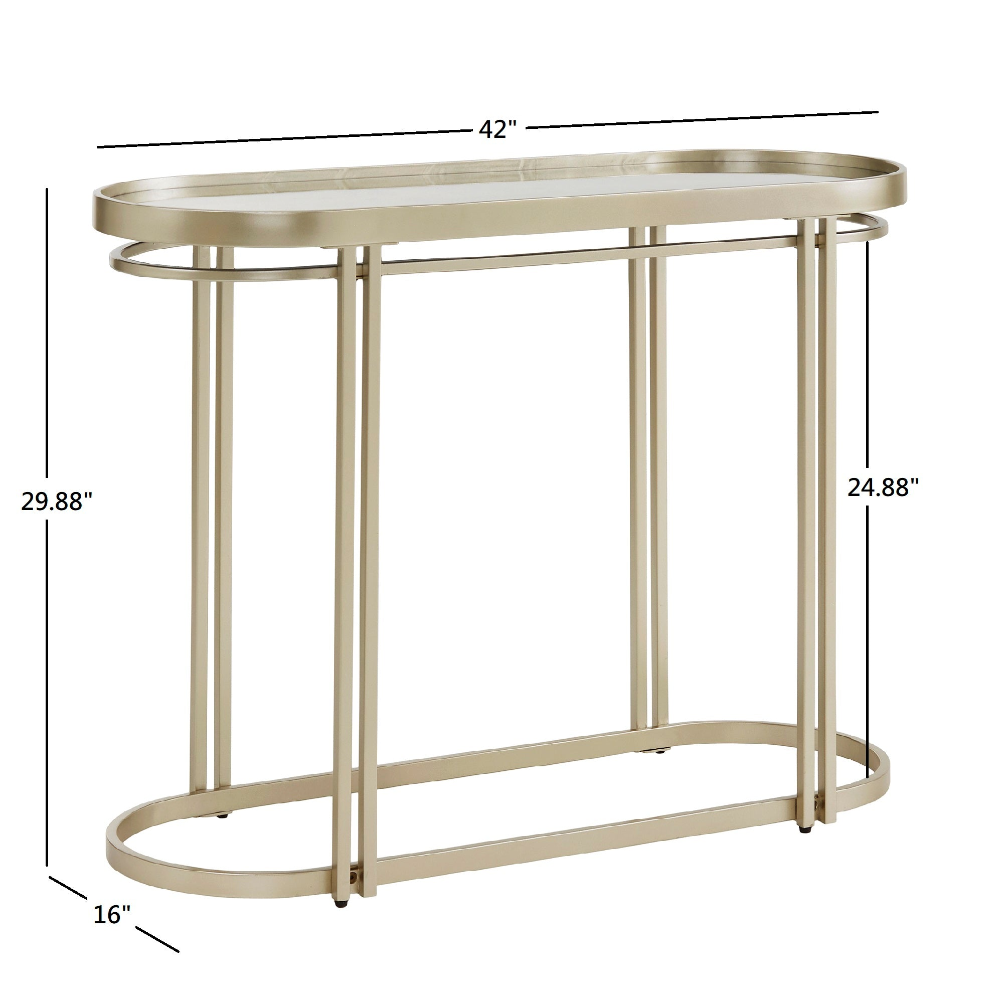 Champagne Silver Finish Oval Antique Mirror Top Sofa Table
