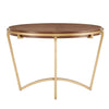 Natural Wood Finish Dining Table with Gold Metal Base and Fabric Dining Chair Set