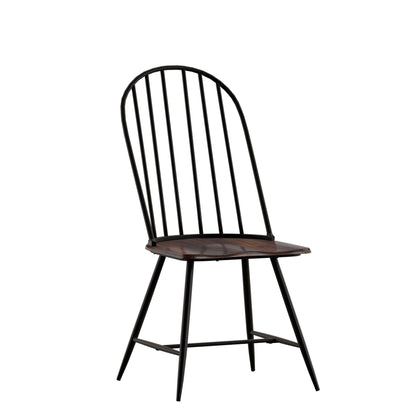 Two-Tone Spindle Windsor Dining Chairs (Set of 4) - Black Frame