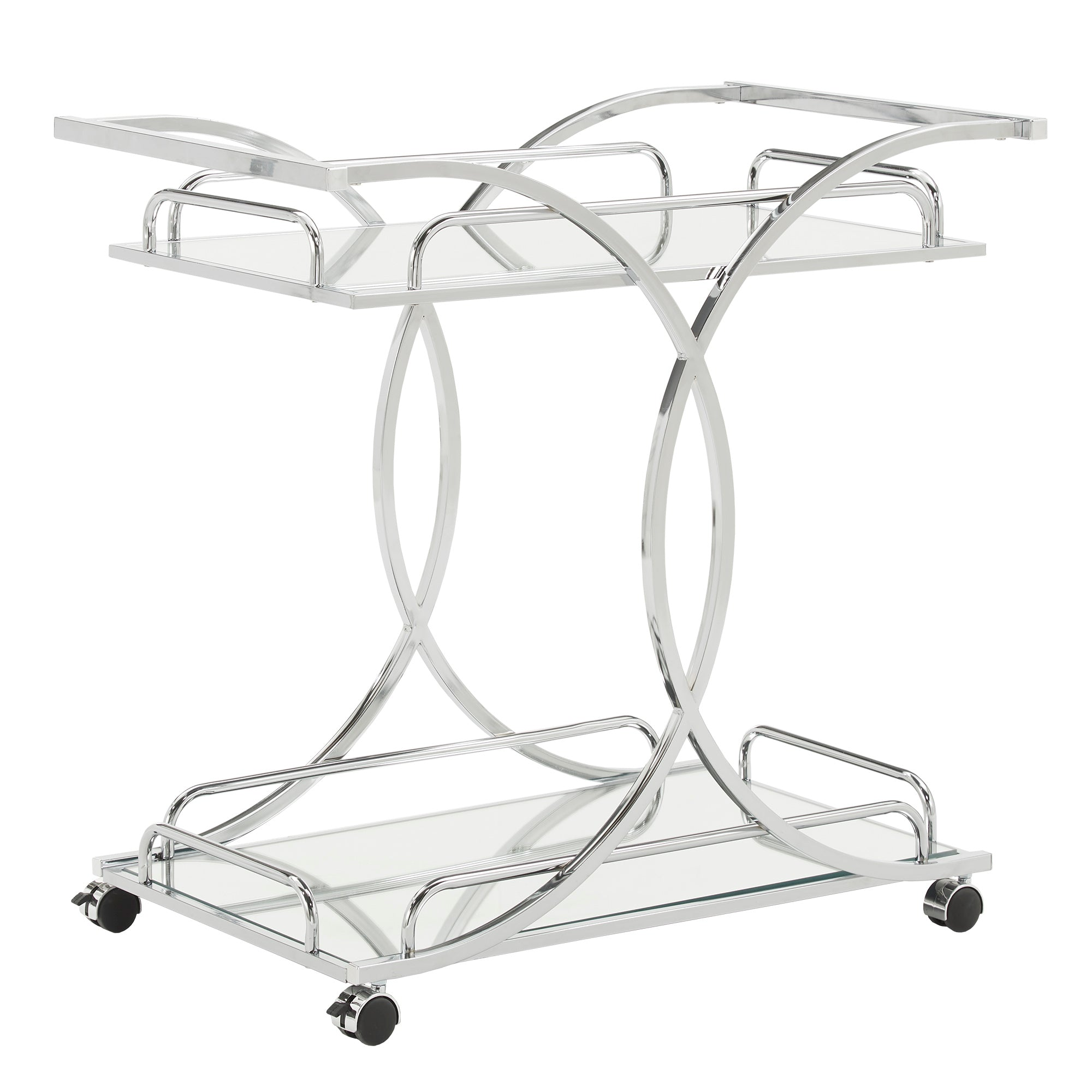 Chrome Finish Bar Cart with Curving Metal Frame