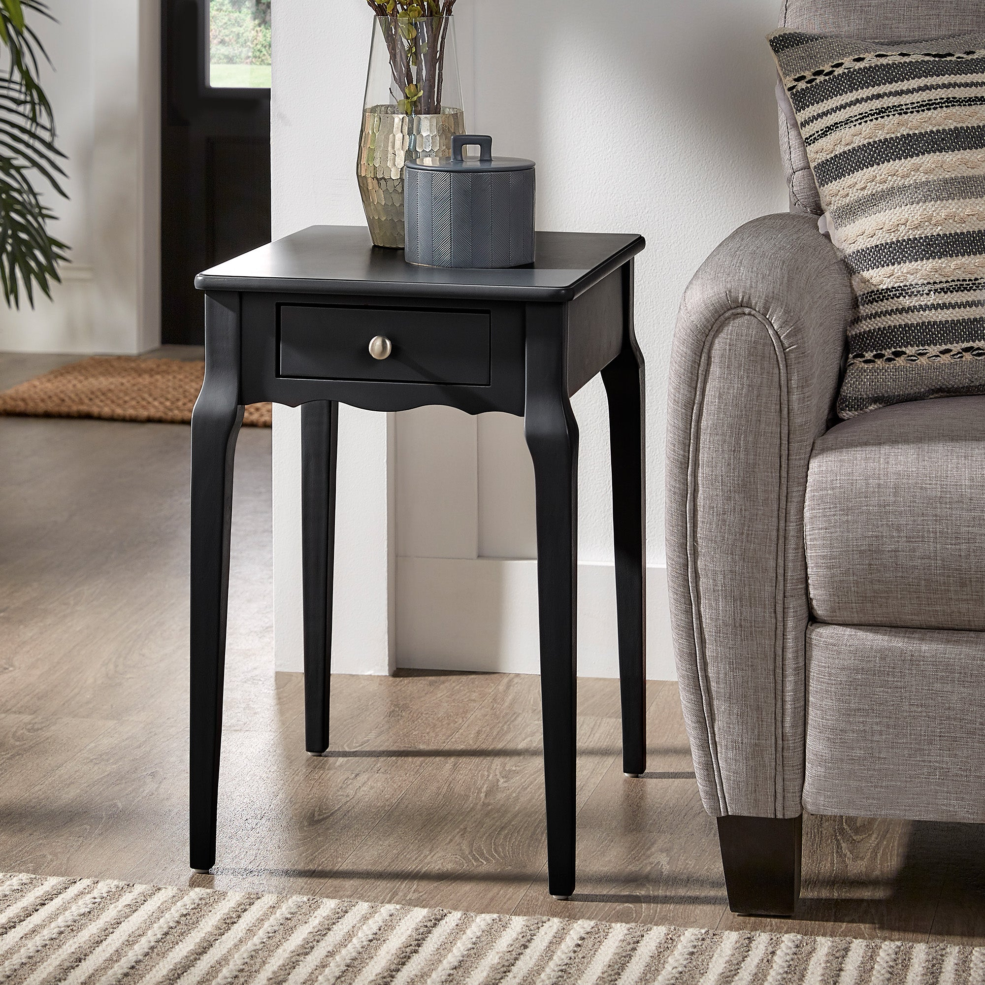 1-Drawer Storage Side Table - Black