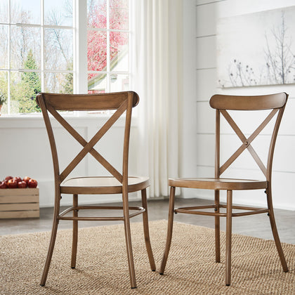 Metal Dining Chair (Set of 2) - Oak Finish