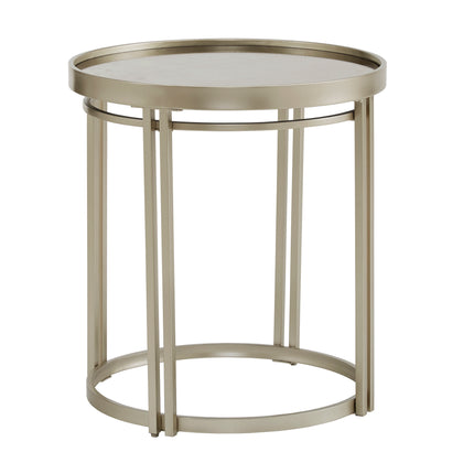 Champagne Silver Finish Round Antique Mirror Top End Table