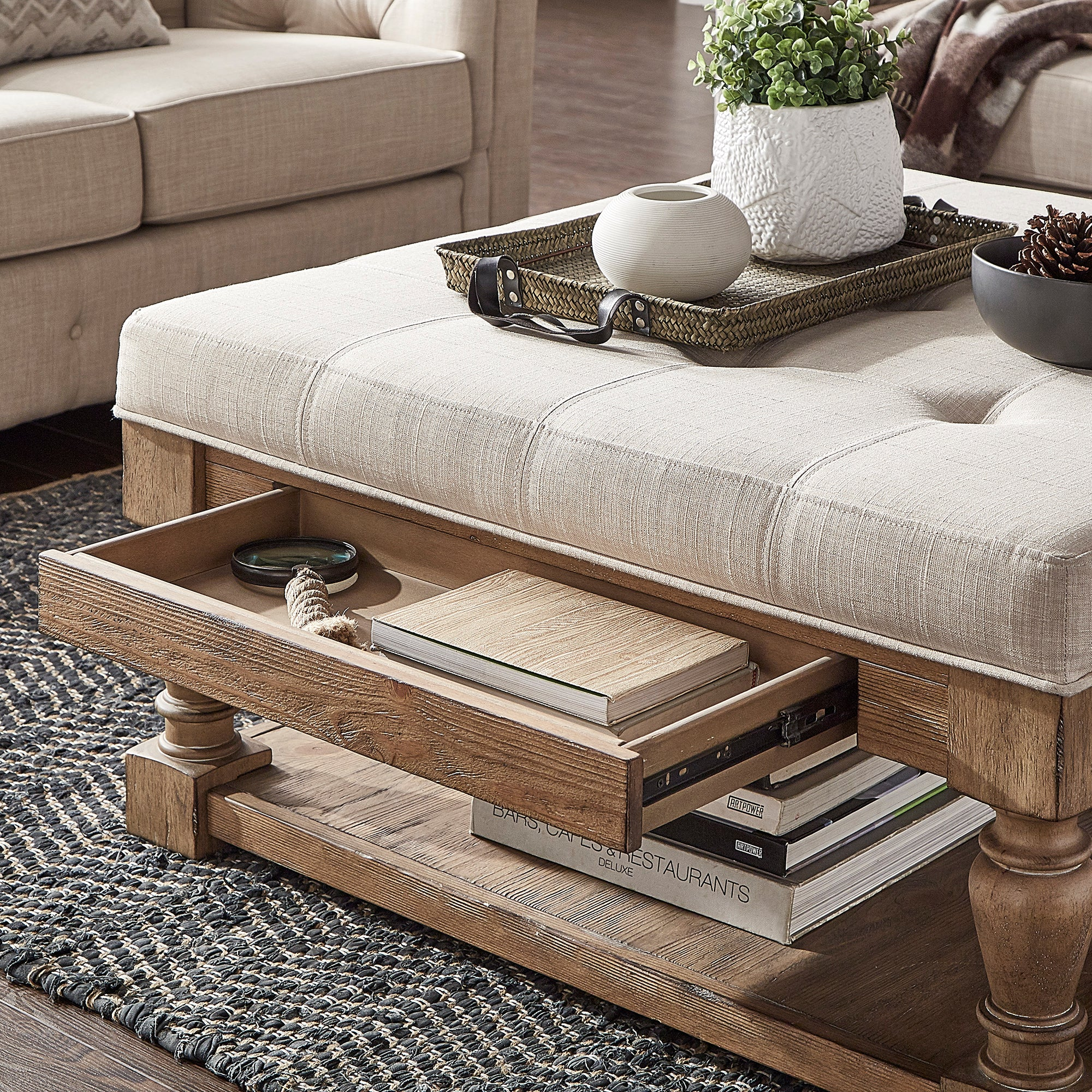 Baluster Pine Storage Tufted Cocktail Ottoman - Beige Linen - Dimpled Tufts