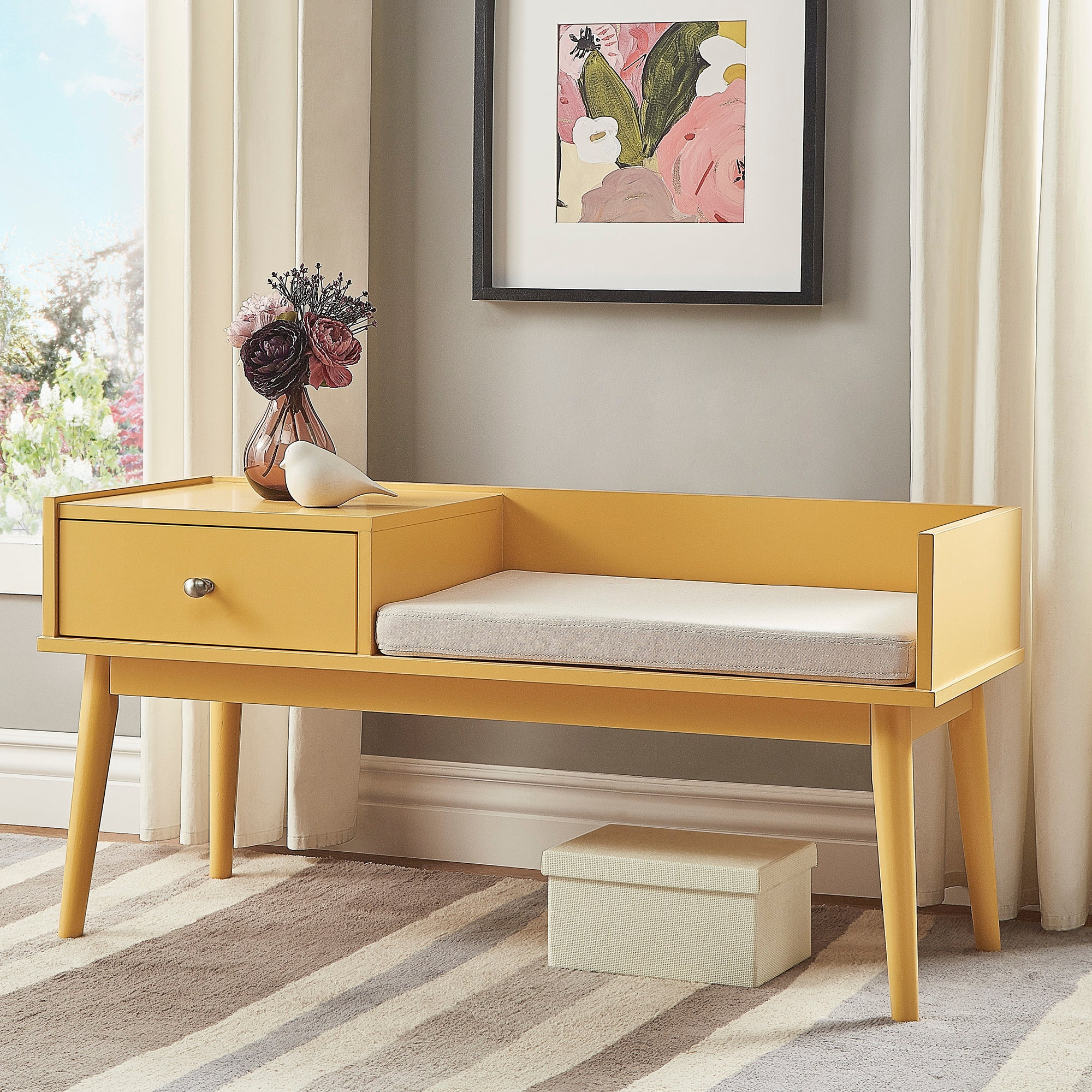 1-Drawer Cushioned Entryway Bench - Banana Yellow