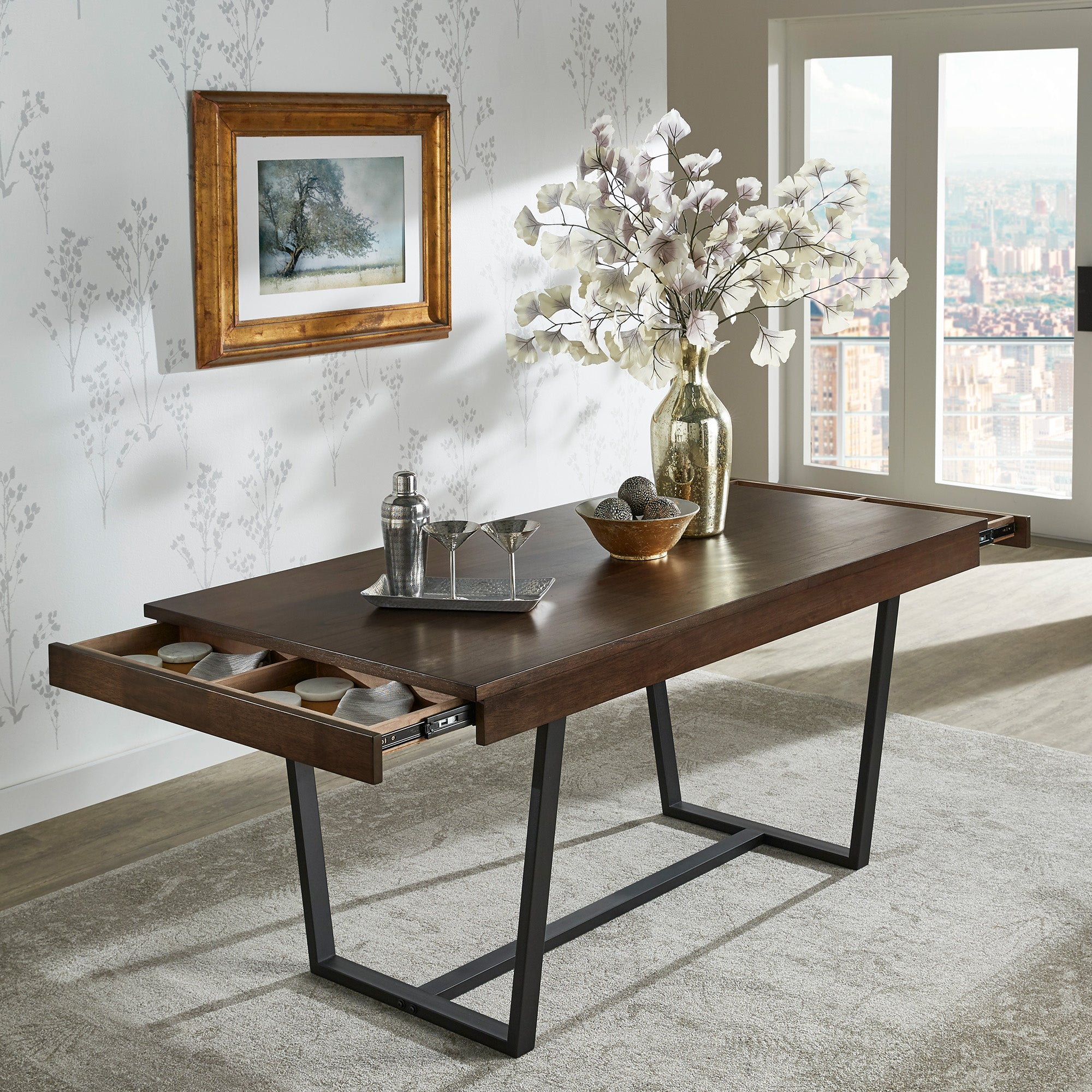 Walnut Finish Black Metal Storage Dining Table