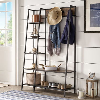 Matte Black Finish Metal Coat Rack with Ladder Shelf