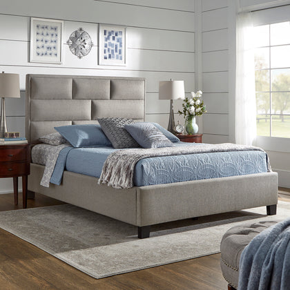 Grey Linen Fabric Upholstered Panel Bed - Queen