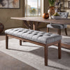 Premium Tufted Reclaimed 52-inch Upholstered Bench - Grey Linen